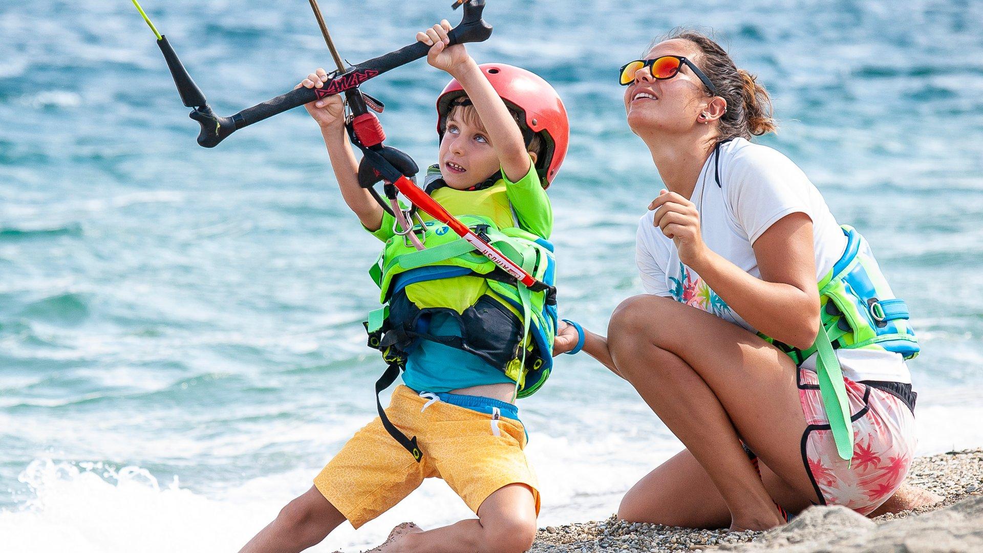 Children kitesurfing lessons in Greece Evia Island